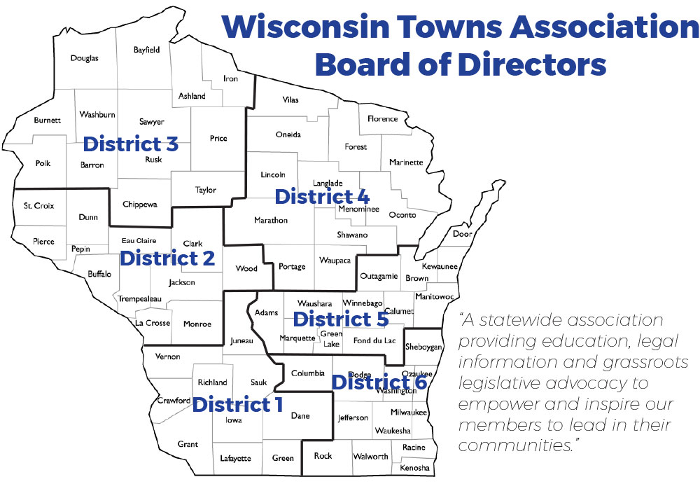 Wisconsin Towns Association District Map